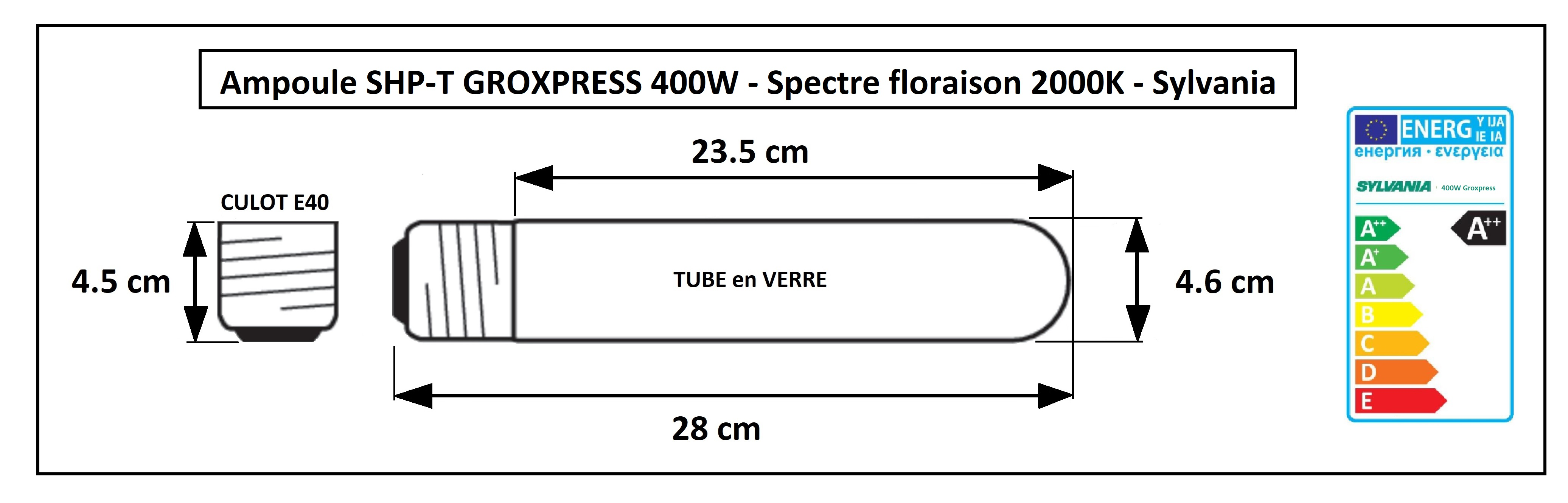 Dimensions de la lampe Groxpress 400W Sylvania