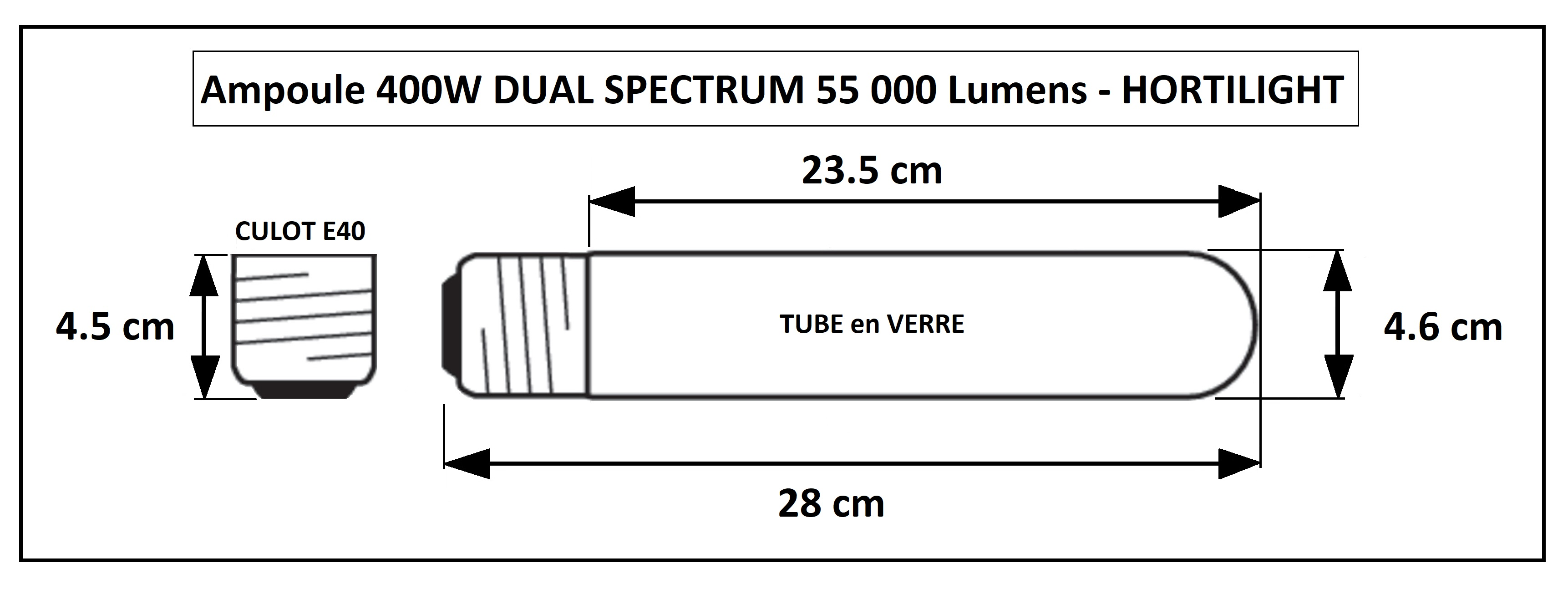 Lampe de culture indoor 400W Hortilight