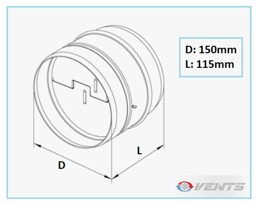 Clapet de ventilation en acier de dimensions 150mm