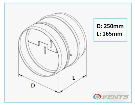 Clapet de ventilation en acier de diamètre 250mm