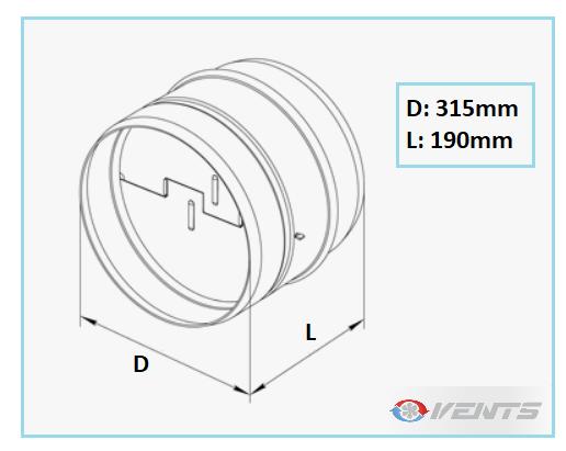 Clapet pour gaine de ventilation de diamètre 315mm