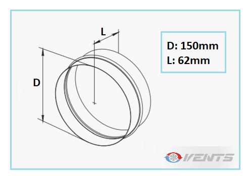 Connecteur de gaine en plastique de diamètre 150mm