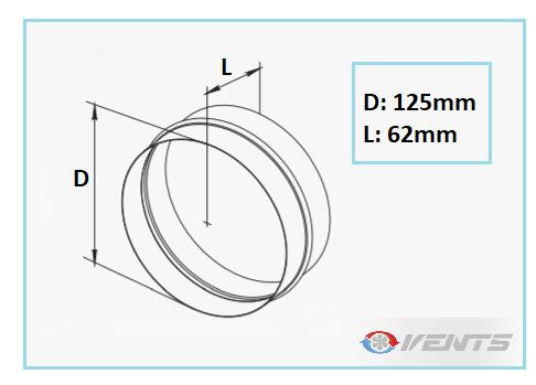 Manchon pour gaine de ventilation de diamètre 125mm