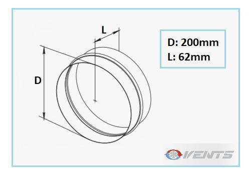 Manchon de ventilation en plastique de diamètre 200mm