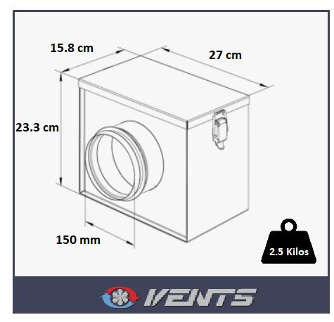 Filtre de ventilation pour raccords de gaine 150mm