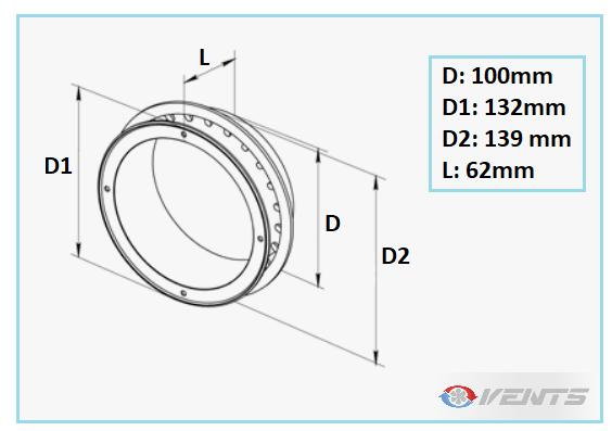 Bride de ventilation plastique de diamètre 100mm