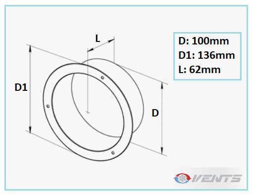 Flange ronde en métal pour gaine de ventilation 100mm