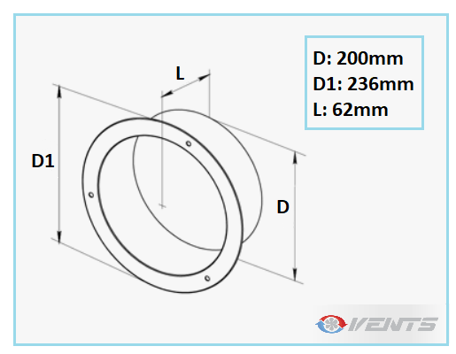 Flange ronde en métal pour gaine flexible 200mm