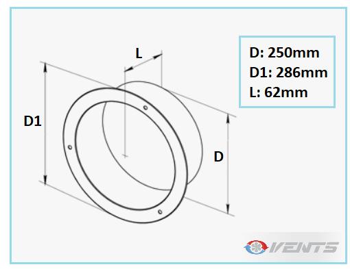 Flange métal ronde pour conduit de ventilation 250mm