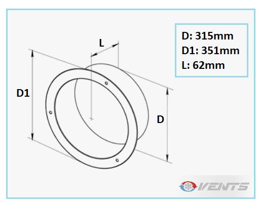 Flange métallique ronde diamètre 315mm