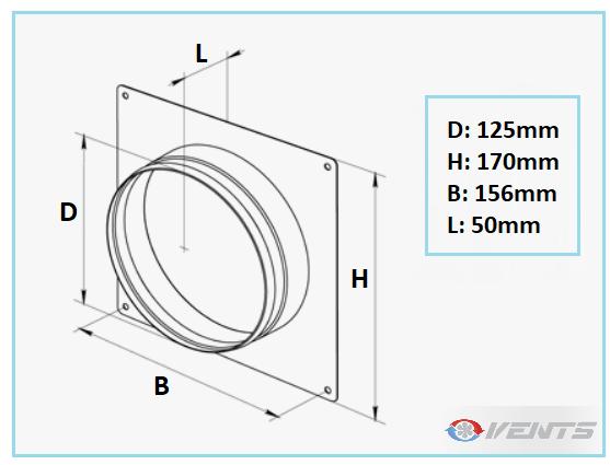 Flange de ventilation métal 125mm pour mur et plafond