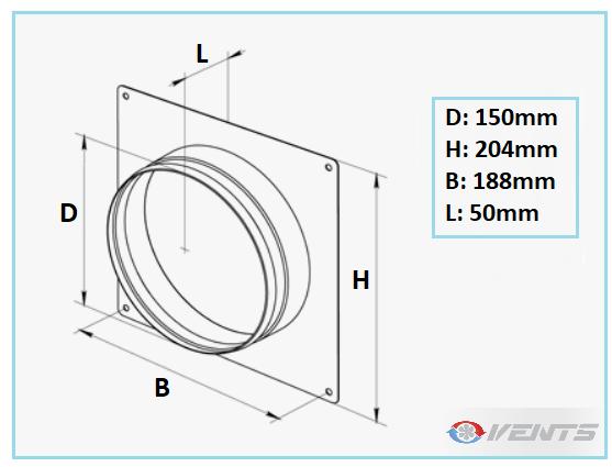 Flange de raccordement pour gaine diamètre 150mm