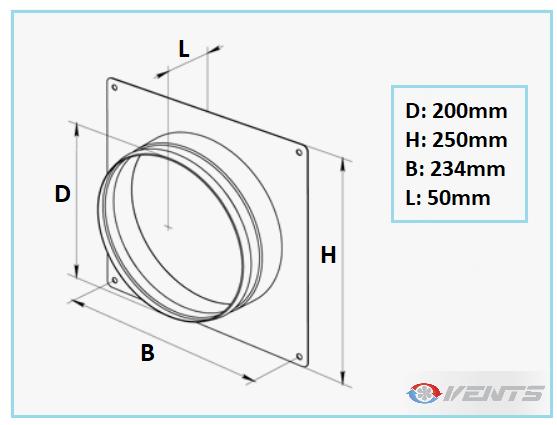 Flange de ventilation plate pour gaine de diamètre 200mm
