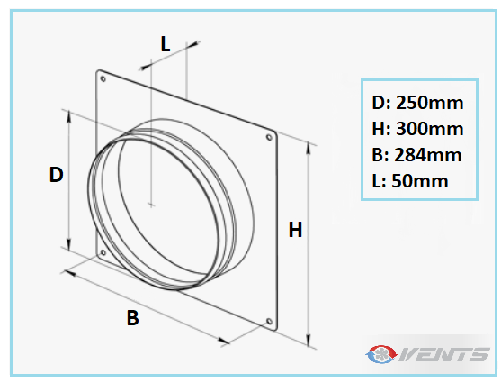 Connection métal pour gaine de ventilation flexible 250mm