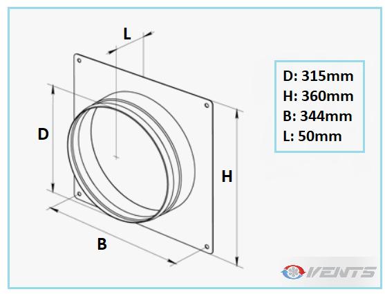 Flange en métal diamètre 315mm