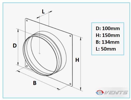 Flange de diamètre 100mm pour mur