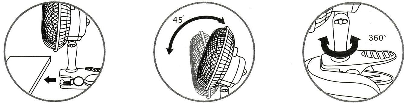 Ventilateur clip articulé