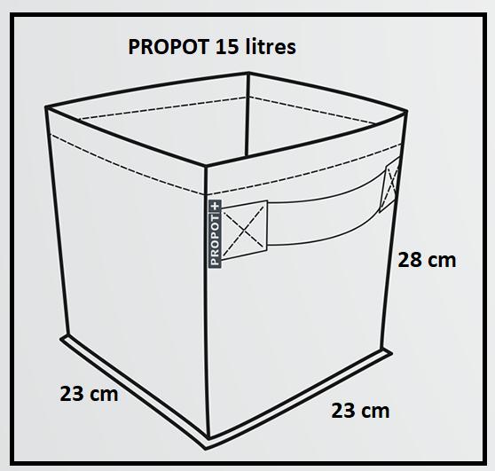 Pot en tissu de 15 litres avec poignées