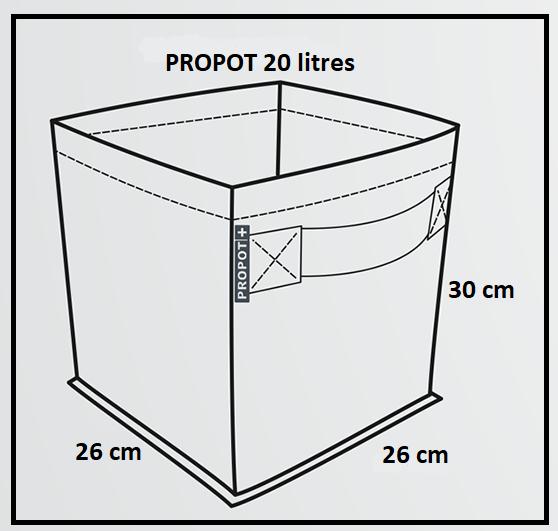 Dimensions du pot géotextile Porpot 20 litres