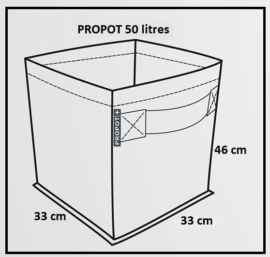 Dimensions du pot de fleur Garden High Pro en tissu 50 litres